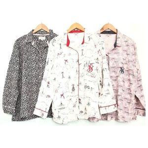 Victoria's Secret Lot of 3 Pajama Button Up Shirts